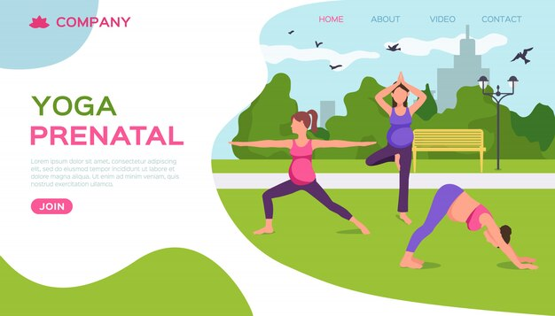 Yoga en la naturaleza del parque, ilustración. aptitud femenina embarazada, estilo de vida de salud materna y maternidad. relajación de la maternidad