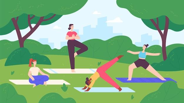 Yoga en el parque de la ciudad. grupo de mujeres hacen ejercicio y meditación en el paisaje de la naturaleza. lección de fitness al aire libre, concepto de vector de estilo de vida saludable. ilustración parque ejercicio de yoga, fitness al aire libre