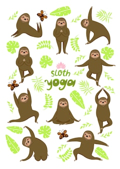 Yoga de la pereza. diferentes poses. perezosos aislados sobre un fondo blanco. gráficos.