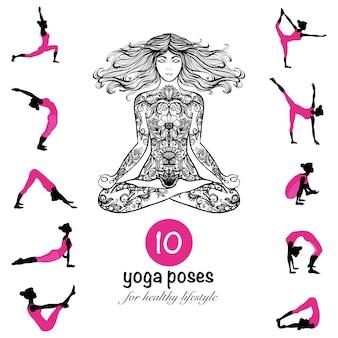 Yoga plantea asanas pictogramas composición cartel