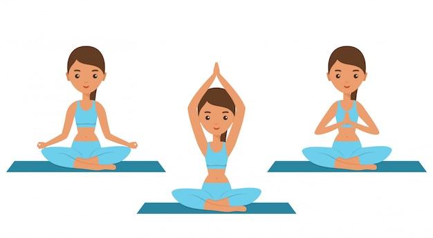 Yoga. postura de loto. mujeres planas sentadas en pose de yoga sukhasana. icono de personaje femenino. ilustración.