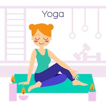Yoga practicante de la mujer en la actitud del árbol. en asana vrikshasana.