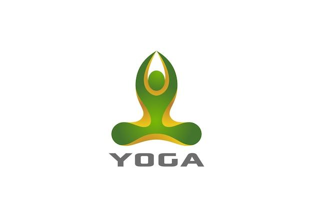 Yoga sentado logo de pose de loto.