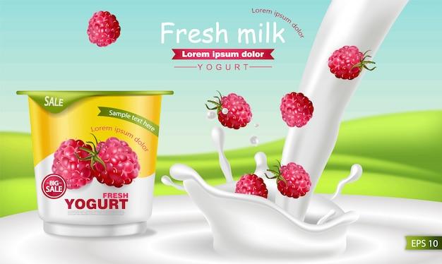 Yogur de frambuesa realista maqueta