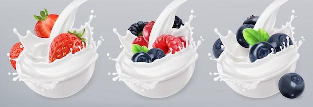 Yogur de frutas del bosque. fresa, frambuesa, arándano. salpicaduras mixtas de bayas y leche. conjunto de iconos realistas 3d