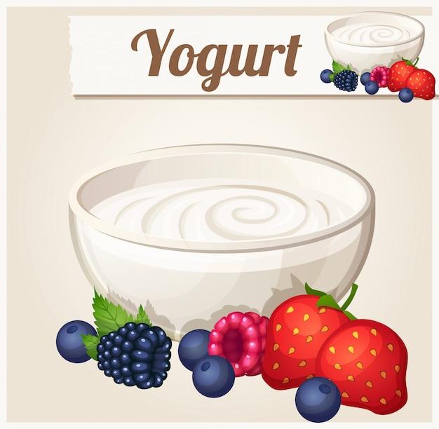 Yogur con frutas del bosque. ícono detallado