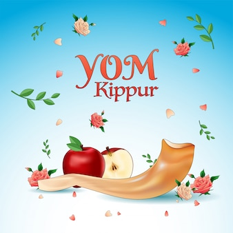 Yom kippur banner rebanada de manzana