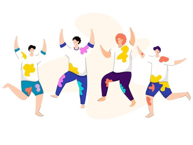 Young boys bailando o jugando juntos en blanco