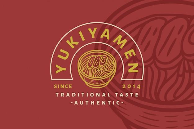 Yukiyamen - traditiona taste ramen - logotipo vintage