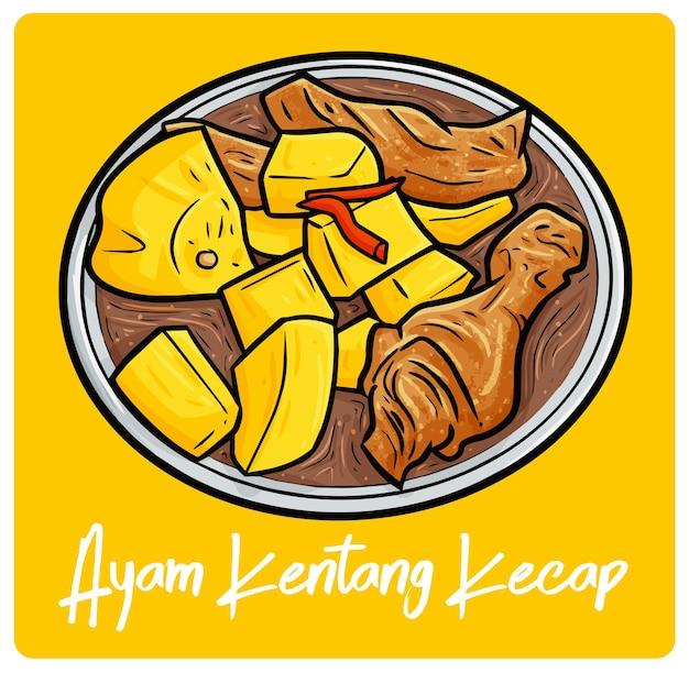 Yummy ayam kentang kecap una comida indonesia en estilo doodle