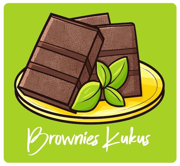 Yummy brownies kukus un pastel indonesio en estilo doodle