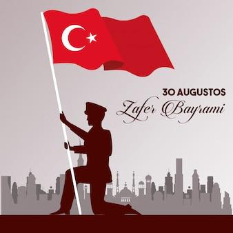 Zafer bayrami celebración con soldado y bandera de turquía, diseño de ilustraciones vectoriales