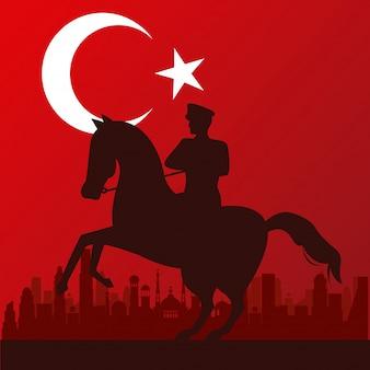 Zafer bayrami celebración con soldado en caballo y bandera, diseño de ilustraciones vectoriales