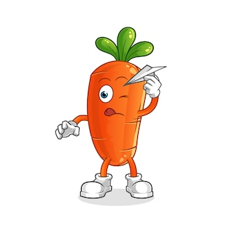 Zanahoria con carácter de avión de papel.