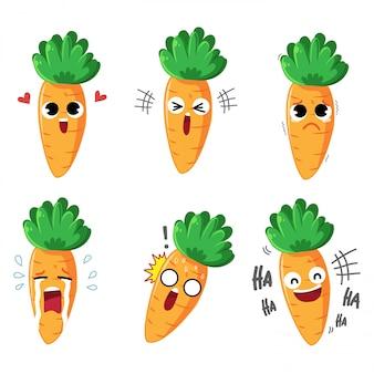 Zanahoria de dibujos animados de emoción variedad de emociones y muchos gestos