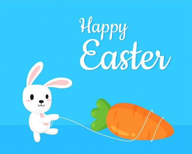 Zanahoria gigante con un lindo conejo con un feliz mensaje de pascua