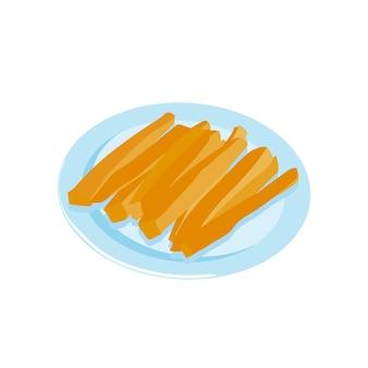 Zanahoria palitos de zanahoria aperitivo de verduras en un plato ilustración de vector de stock de merienda saludable