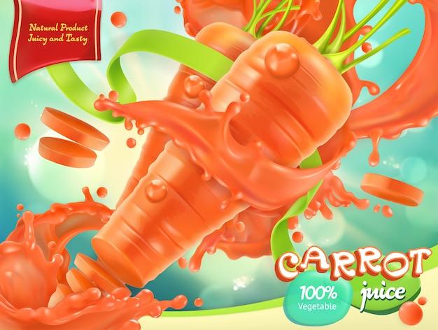 Zanahoria vegetal. comida sana. vector realista 3d, diseño de paquete
