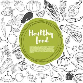 Zanahorias, repollo, calabaza, cebolla, ajo, brócoli, pimiento, tomate, pepino. conjunto de vegetales dibujados a mano. plantilla de comida sana.