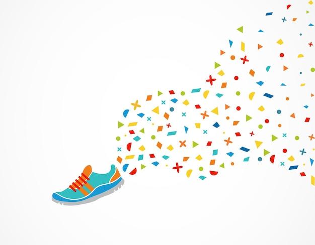 Zapatilla con decoración colorida