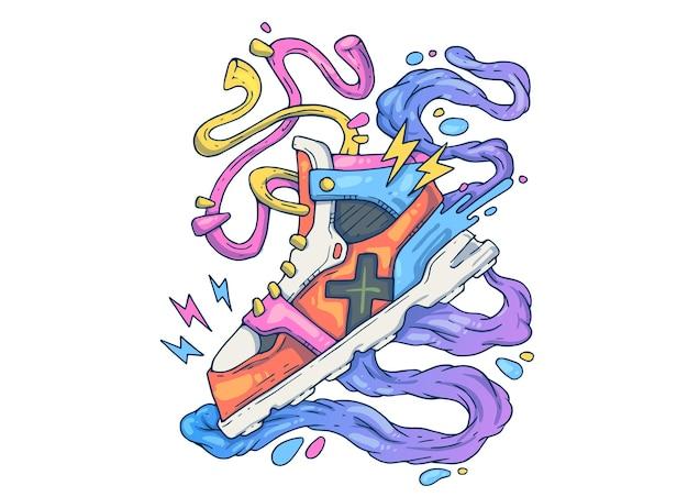 Zapatilla deportiva. ilustración de dibujos animados creativos.