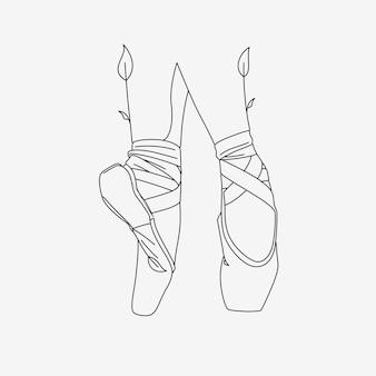 Zapatillas de ballet con estilo line art