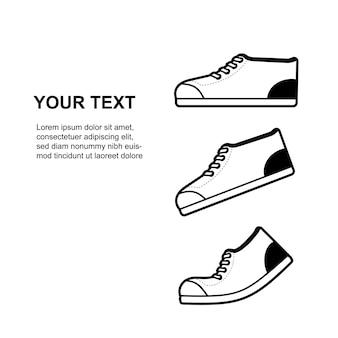 Zapatillas minimalistas vectoriales en color blanco y negro con texto de muestra