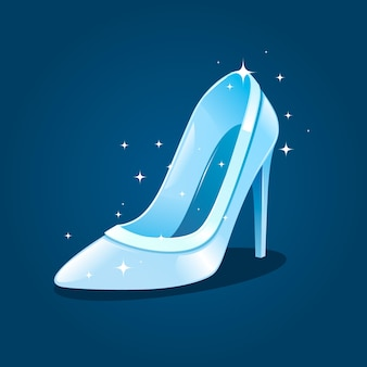 Zapato de cristal brillante de cenicienta