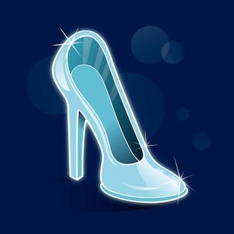 Zapato de cristal de cenicienta con destellos
