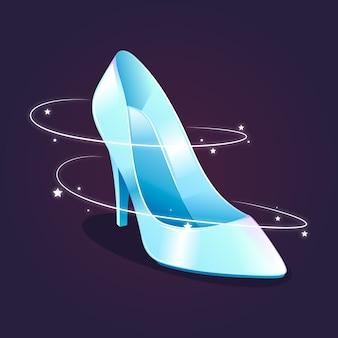 Zapato de cristal de cenicienta de diseño brillante