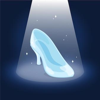 Zapato de cristal de cenicienta ilustrado
