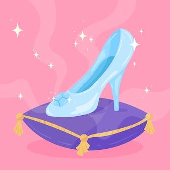 Zapato de cristal de cenicienta sobre almohada