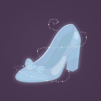 El zapato de cristal perdido de cenicienta con pajarita