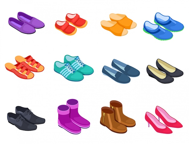 Zapato isométrico. zapatillas calzado deportivo zapatillas de deporte zapatos masculinos y femeninos, botas conjunto de iconos de calzado