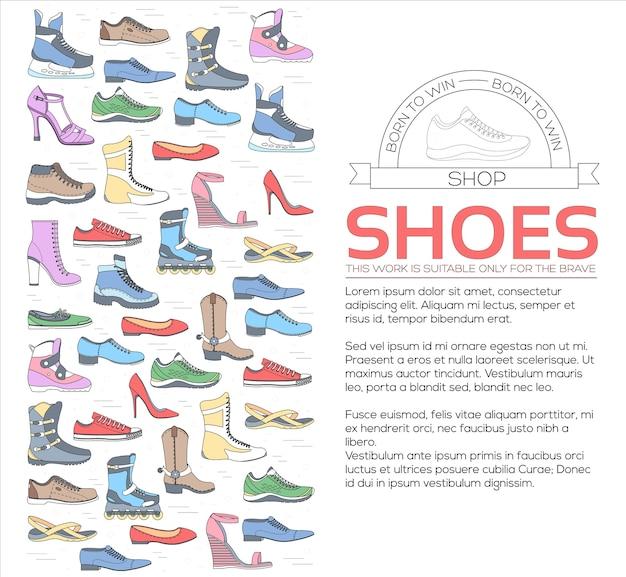 Zapato de líneas finas planas establecer iconos elementos concepto fondo ilustración