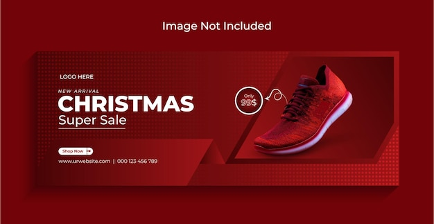 Zapato navideño en venta en redes sociales, banner web de instagram o plantilla de portada de facebook vector premium