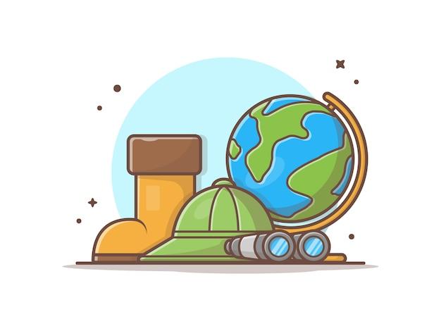 Zapatos de arranque con sombrero, binoculares e ilustración de globe world