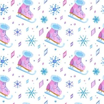Zapatos de patinaje sobre hielo dibujados a mano de patrones sin fisuras. patines de niña, cristales helados y dibujo a color de copos de nieve.