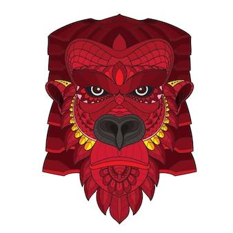 Zentangle cabeza de gorila estilizada. ilustración vectorial