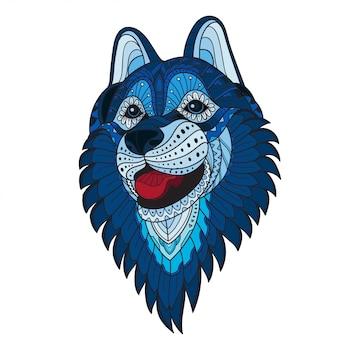Zentangle cabeza de lobo estilizada. ilustración vectorial