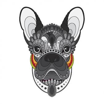 Zentangle estilizada cabeza de bulldog francés. ilustración vectorial
