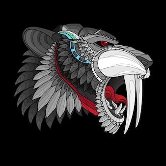 Zentangle estilizado sable cabeza dentada tigre
