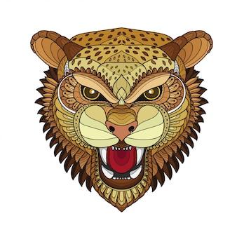 Zentangle estilizado tigre cabeza-ilustraciones vectoriales