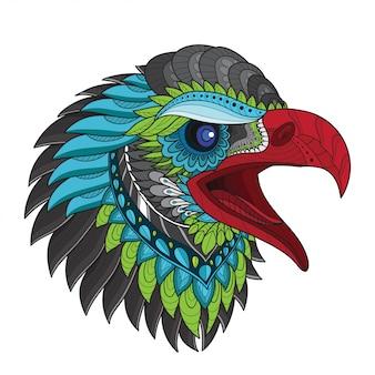 Zentangle ilustraciones de vectores de cabeza de águila estilizada