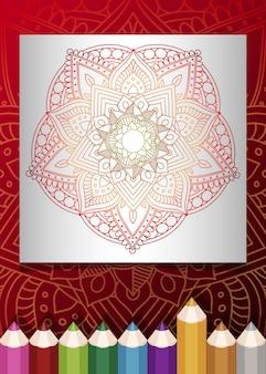 Zentangle mandala para adultos relajante libro para colorear color tono fondo rojo.