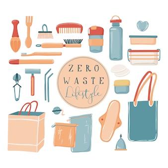 Zero waste, estilo de vida ecológico conjunto de objetos, bolsa de lona, botella de agua, taza de viaje, artículos de tocador, recipientes, pajitas de afeitar