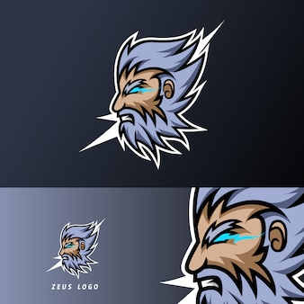 Zeus god lightning mascot sport gaming esport plantilla de logotipo bigote de barba gruesa para escuadrón club