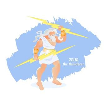 Zeus thunderer atleta barbudo deidad olympus