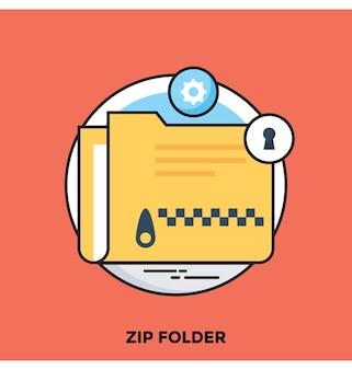 Zip folder flat vector icon