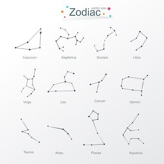 Zodiac moderno diseño plano conjunto de horóscopo.